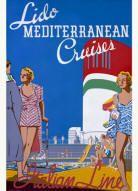 Solid-Faced Canvas Print Wall Art Print entitled Lido Mediterranean Cruises, Italian Line,Vintage Poster Vintage Italian Posters, Vintage Travel Posters, Travel Ads, Travel And Tourism, Wall Art Prints, Poster Prints, Med Cruises, Vintage Italy, Vintage Air