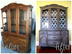 Simple and Crazy Tips and Tricks: Repurposed Furniture Entryway charcoal distressed furniture. Furniture Restoration, Shabby Chic Furniture Diy, Redo Furniture, Refurbished Furniture, Painted Furniture, Home Furniture, Painted China Cabinets, Distressed Furniture, Furniture Making