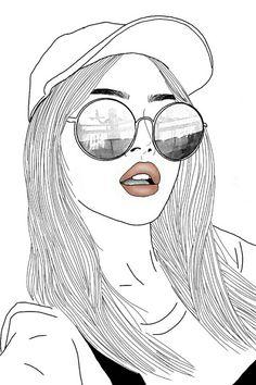 Art dessin fille noir blanc