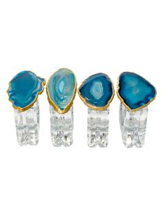 Napkin Rings with Agate (Set of 4) by Mapleton Drive at Gilt