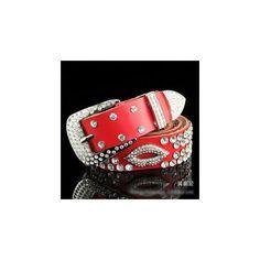 Rhinestone Genuine Leather Belt (17 CAD) ❤ liked on Polyvore featuring accessories, belts, women, rhinestone belt, rhinestone studded belt, white belt and white rhinestone belt