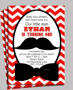 Little Man Mustache Invitation Printable  Red by ThatPartyChick, $15.00