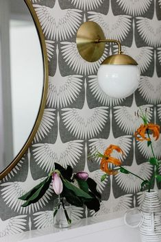 Bright And Colorful Mid-Century Nashville Ranch Home - bold wallpaper in the bathroom - Powder Room Wallpaper, Art Deco Wallpaper, Bold Wallpaper, Wallpaper Ideas, Wallpaper In Bathroom, Wallpaper In Dining Room, Peacock Wallpaper, Nashville, Home Design