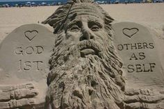Jesus Man Randy Hofman does a different Biblical centric sculpture every few days in Ocean City, Maryland