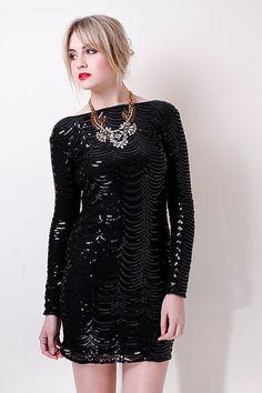 10abe245fa29 Liquorish 20 s Style Black Sequined Body Con Midi by volkantextile 20s  Fashion