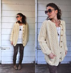 Chunky Cable Knitted Wool Vintage Sweater by LaDeaDeiSogni on Etsy, $98.00