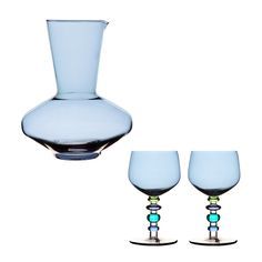 Dress up your dinner table with this stylish blue carafe and glassware set.  The glass carafe, shaped like an elegant vase, holds up to fifty-seven ounces.  The matching wine glasses complete the look,...  Find the 3-Pc. Blue Carafe + Glasses Set, as seen in the Our Eclectic Thanksgiving Collection at http://dotandbo.com/collections/styleyourseason-our-eclectic-thanksgiving?utm_source=pinterest&utm_medium=organic&db_sku=SAG0001-blu