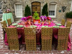 Tandoori Fuchsia Table Linens with Milano Red & Gold Chair Sleeves | Divine Affairs | Karl Ko Photography