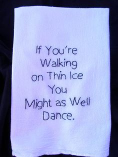 Hand Embroidered Tea Towel for the Kitchen of a Risk Taker by peggradyart,