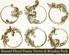 Round Floral Frame Vector Pack