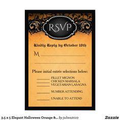 3.5 x 5 Elegant Halloween Orange & Black Menu RSVP #halloweenWeddingrsvp #gothicrsvp #blackorangersvp