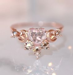 Crystal Engagement Rings, Dream Engagement Rings, Rose Gold Heart Ring, Heart Rings, Rose Gold Rings, Heart Promise Rings, Rose Quartz Ring, Rose Gold Jewelry, Heart Jewelry