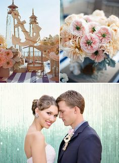 Nautical Theme wedding with gold, navy blue, white and warm blue color scheme.