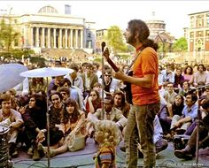 Grateful Dead | Student Strike at Columbia University in the City of New York – Low Library Plaza | 5/3/68  Following a shutdown of the university by the administration, the Grateful Dead sneak onto the Columbia campus via bread truck and play a short set for a crowd of students and onlookers.