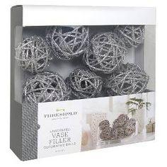 Rattan Vase Filler Decorative Balls Silver Glitter -Threshold™