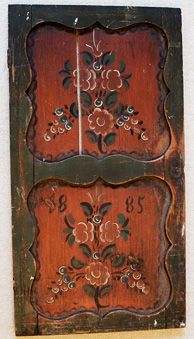 1885 ~ Scandinavian rosemaling. Repinned by www.mygrowingtraditions.com  Oh I'd love to re-create this look on a piece of furniture!