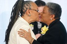Darlene Garner (L) and Candy Holmes (R), both are reverends of Metropolitan Community Churches, exchange kisses during their wedding ceremony on the first day same-sex couples were legal to wed under a new law March 9, 2010.
