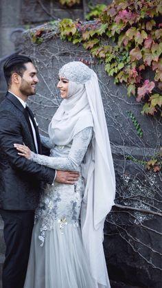 grey bridal outfit idea for muslim brides Muslim Wedding Gown, Hijabi Wedding, Muslimah Wedding Dress, Muslim Wedding Dresses, Muslim Brides, Muslim Dress, Wedding Dresses For Girls, Bridal Dresses, Wedding Gowns