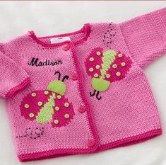 Ladybug Love Embroidered Handknit Baby Sweater