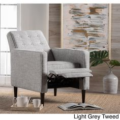 Mervynn Mid Century Button Tufted Fabric Recliner Club Chair By Christopher  Knight Home (Light Grey Tweed), Size Standard
