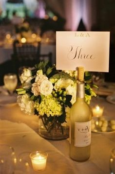 DIY - table number and vino for the guests.   Posting some idea for you, Jess. Let me know what you like