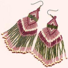 Double Triangle dangle earrings by KMbeadcreations on Etsy,