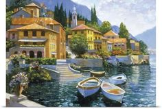 Howard Behrens Poster Print Wall Art Print entitled Lake Como Landing, None