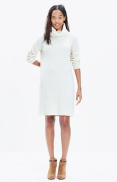 Relaxed White Turtleneck Sweater-Dress