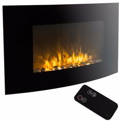 """XL Large 35""""x22"""" 1500W Adjustable Heater Electric Wall Mount Fireplace Elegant"""