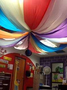 Party decor made from plastic tablecloths
