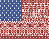 American Flag Cross Stitch Pattern Stars and Stripes Repeating Borders Design PDF Instant Download OR Beaded