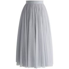 Chicwish Ethereal Tulle Mesh Midi Skirt in Grey