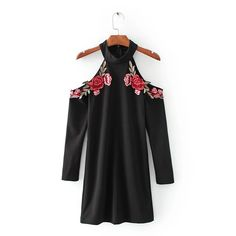 spring retro sexy red flower embroidered patch hanging neck strapless dress black