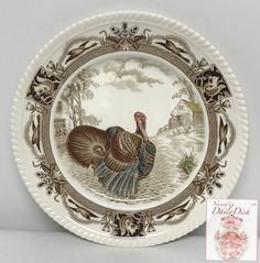 Antique Johnson Brothers Brown Transferware Barnyard King Tom Turkey P