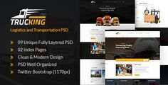 Trucking - Logistics and Transportation PSD Template by webstrot  Trucking ¨C Logistics and Transportation PSD TemplateTrucking is PSD template created for logistics, trucking, transportation companies and small freight business. Weather your company handlesair freight, ocean freight, whole supp