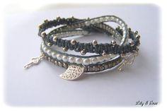 RESERVE - Bracelet wrap grisq trois rangs : Bracelet par lily-et-rose