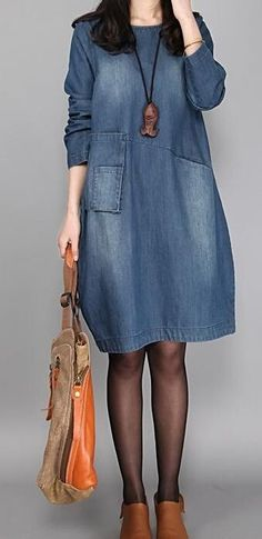 Women& Casual/Daily Loose Dress,Solid Round Neck Above Knee Length Sleeves Others Spring Fall Mid Rise Inelastic Opaque Denim Short Dresses, Womens Denim Dress, Trendy Dresses, Casual Dresses For Women, Dresses With Sleeves, Loose Dresses, Comfy Dresses, Midi Dresses, Cool Outfits