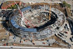 Aerial view of curved pipe used for the Sprint Center, Kansas City, MO.