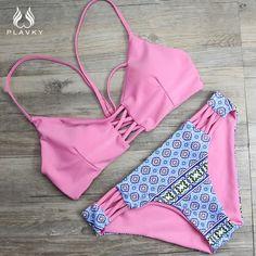 Sexy Red/Pink Serpentine Floral Bikini Reversible Swim Wear Bathing Suit Swimsuit Swimwear Women Bikini