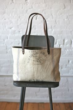 1940s era Feedsack Tote Bag. Forest Bound. -Bet I could  find something like this on Etsy?