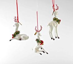 """Katherine's Collection Night Before Christmas Collection Six Assort 8"""" x 6"""" Christmas Reindeer Ornaments Free Ship"""