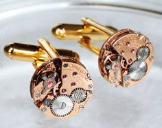 OMEGA Steampunk Cufflinks - Made with Rare GENUINE OMEGA watch movements. Available at TimeInFantasy, $145.00 steampunk cufflink, mens cufflinks, vintage cufflinks