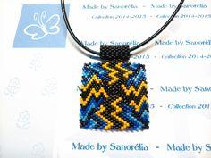 2014/039- Pendentif + cordon - style carré - tissage peyote - perle noir jaune bleu - motif Elektrik : Pendentif par sanorelia