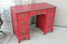 Desk transformation.....and my favorite color of RED paint