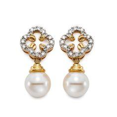 Lucky Mastoloni Clover Pearl Earrings! www.Houstonjewelry.com