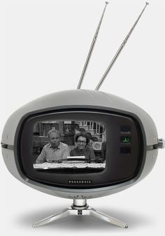 "Panasonic Orbitel TR-005 television - also known as the ""Flying Saucer"" or ""The Eyeball"" was a television set that was manufactured from the late 60's to early 70's. It had a five-inch screen, earphone jack, and could rotate 180 degrees on its chrome tripod."