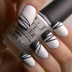 """""""My #blackandwhite entry for #wnac2015! @opi_products Alpine Snow & @essiepolish Licorice. Should I say more...? #mattenails #opi #essie #nails #mani…"""""""