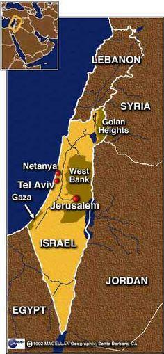 Israeli Map... Tel Aviv, Israel...
