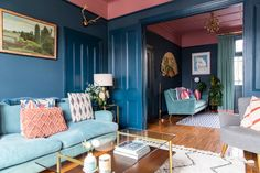 An All-Blue Living Room Makeover in South East London - Front + Main Living Room Photos, Living Room Decor, Living Rooms, Bedroom Decor, Blue And Pink Living Room, Interior Styling, Interior Design, Solid Wood Shelves, Apartment Living