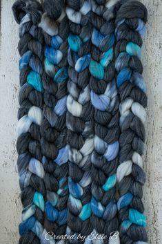 Steller's Jay - Hand dyed Superwash Merino / Bamboo / Nylon combed top. Good for spinning yarn, felting, blending